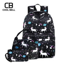 3pcs/set Unicorn Backpack School Bags For Teenager Girls Black Travel Sports Waterproof Women Schoolbag Set
