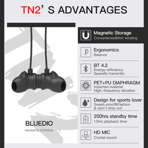 Image 2 - Bluedio TN2 wireless Bluetooth sport earphone active noise cancelling Wireless Headset for phones and music