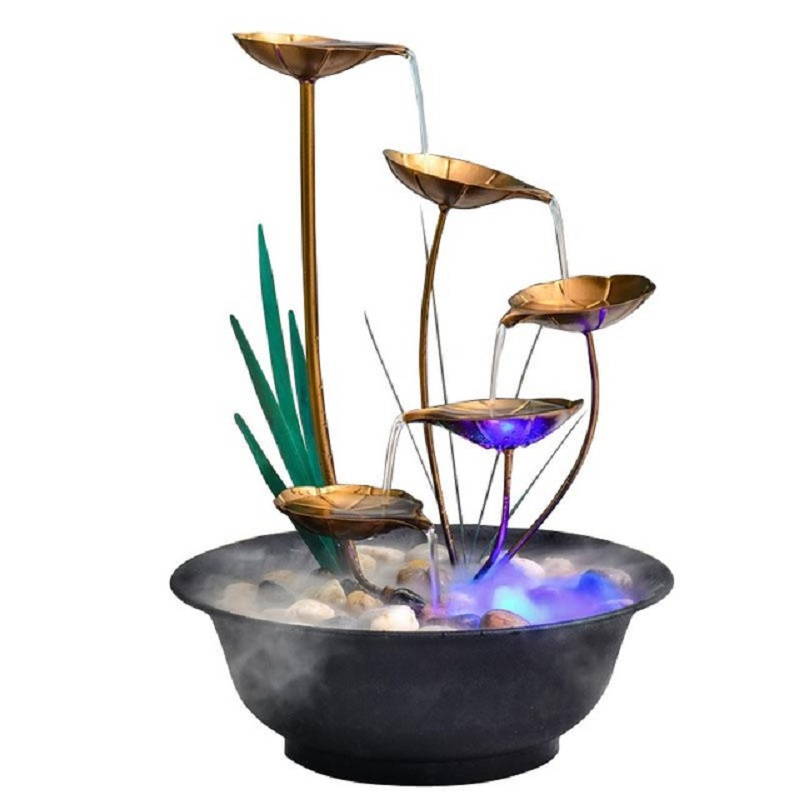 Nordic Plant Iron Desktop Ornaments Flowing <font><b>Water</b></font> <font><b>Fountain</b></font> Figurines Fortune Feng Shui Wheel Crafts <font><b>Home</b></font> <font><b>Decoration</b></font> Accessories image