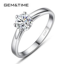 Gem&Time Delicate Prongs Solitaire Cubic Zirconia Ring Sterling Silver 925 Ring For Women