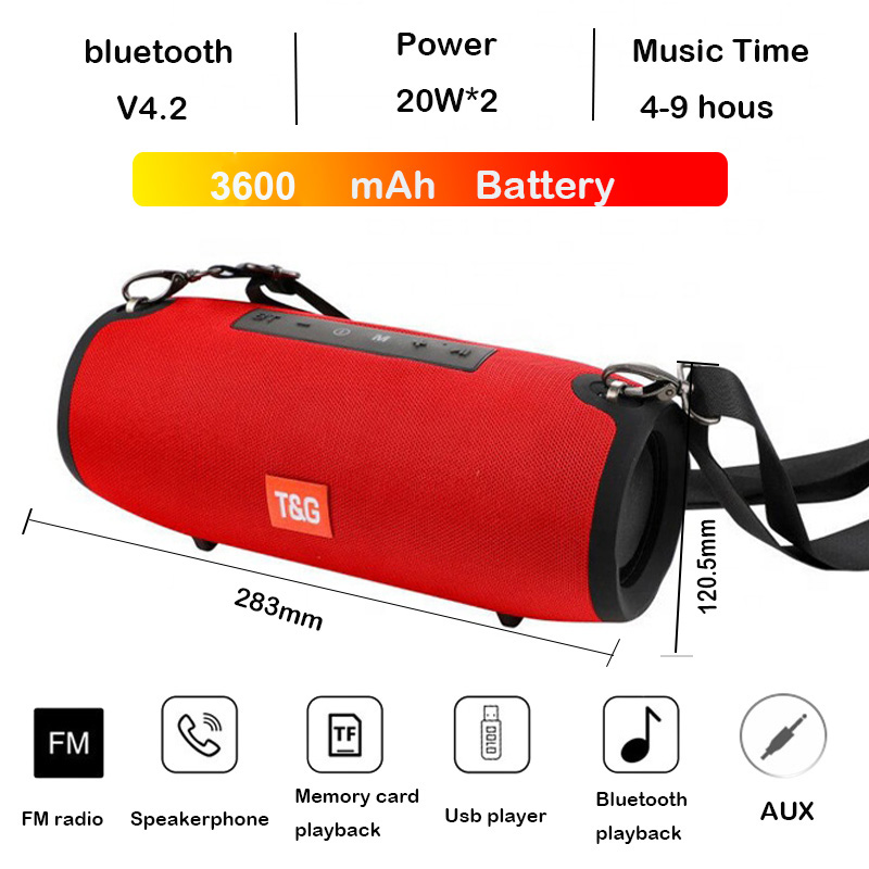 High power TG118 portable bluetooth speaker outdoor Column Computer Wireless Speakers Subwoofer BoomBox Music-Center-Radio(China)