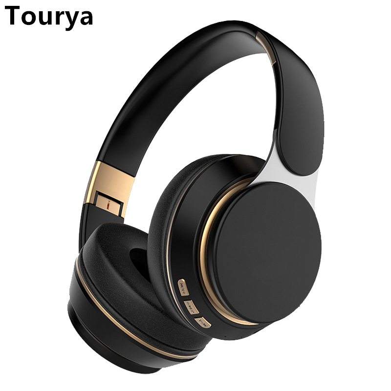 Tourya T7 Wireless Headphones Bluetooth 5 0 Headset Foldable Stereo Adjustable Earphones With Mic for phone Pc TV Xiaomi Huawei