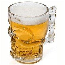 Классическая Пивоваренная чашка пирата 500 мл из хрустального стекла, креативная кружка с черепом и костями для лица с ручкой, кружка для питья вина