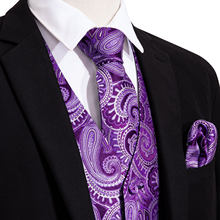 Men Waistcoat Vest Party Wedding Handkerchief Tie Classic Purple Paisley Floral Jacquard Pocket Square Tie Suit Set Barry.Wang(China)