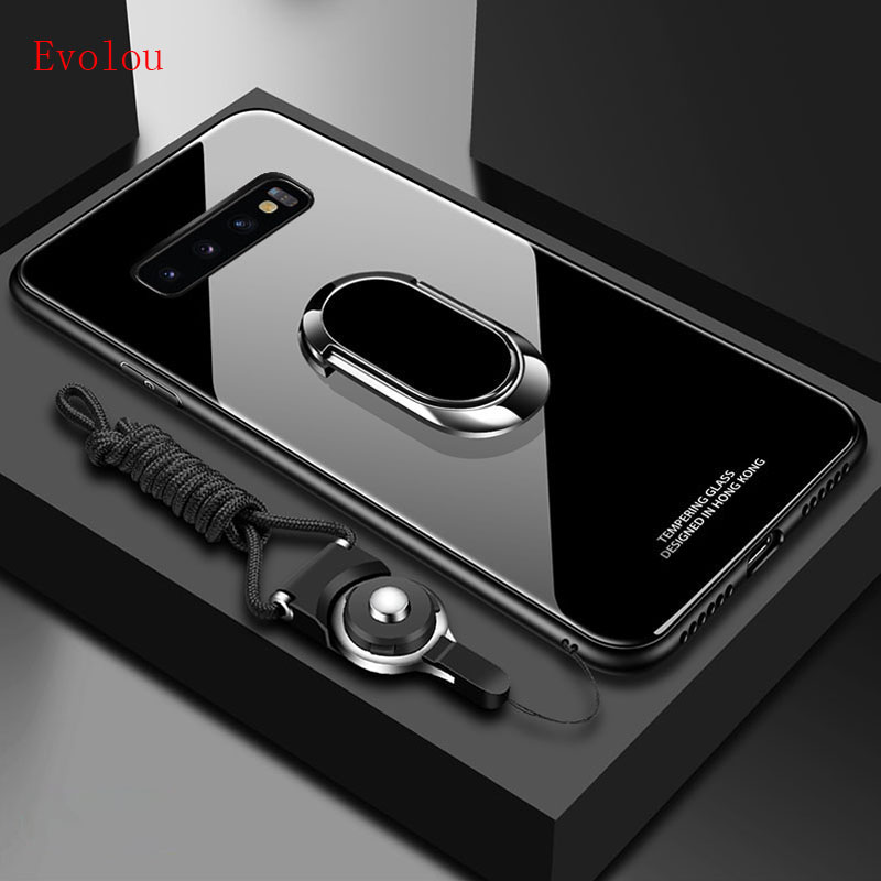 Stand Ring Magnet Cover For <font><b>Samsung</b></font> <font><b>Galaxy</b></font> M10 <font><b>M20</b></font> M30 M40 S10 PLUS 5G Note 8 9 10 pro Hard Tempered <font><b>Glass</b></font> Protective Back <font><b>case</b></font> image