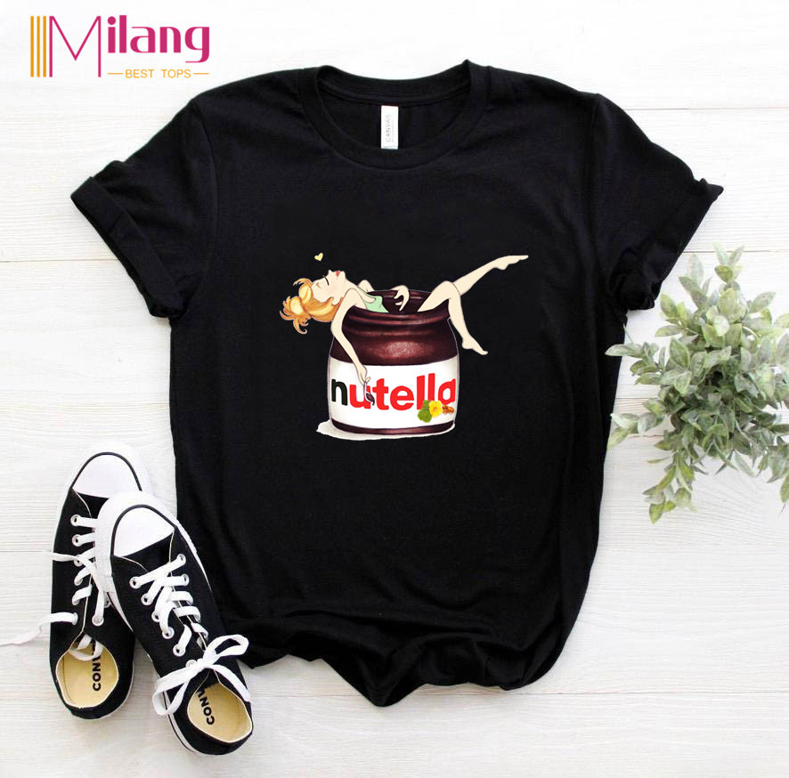 Women Nutella Kawaii Black T-shirts Female Short Sleeve Tees 2020 Summer Brand Funny Girl Choose Clothing Girl Tops