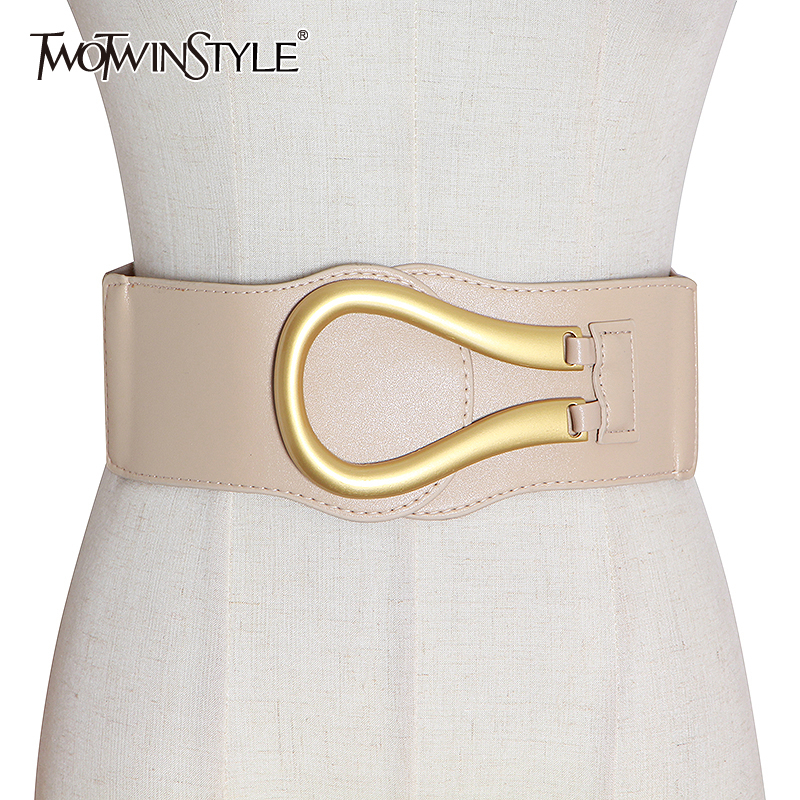 TWOTWINSTYLE Casual PU Leather Women Waist Seal Patchwork Hit Color Irregular Girdle For Female Accessories 2020 Spring Fashion