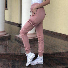 Women Solid Color Mid Waist Drawstring Tie Pants 2019 Summer Casual Sexy Pencil Pants Plus Size Women Pockets Trousers grey casual drawstring waist zipper design pants with four pockets