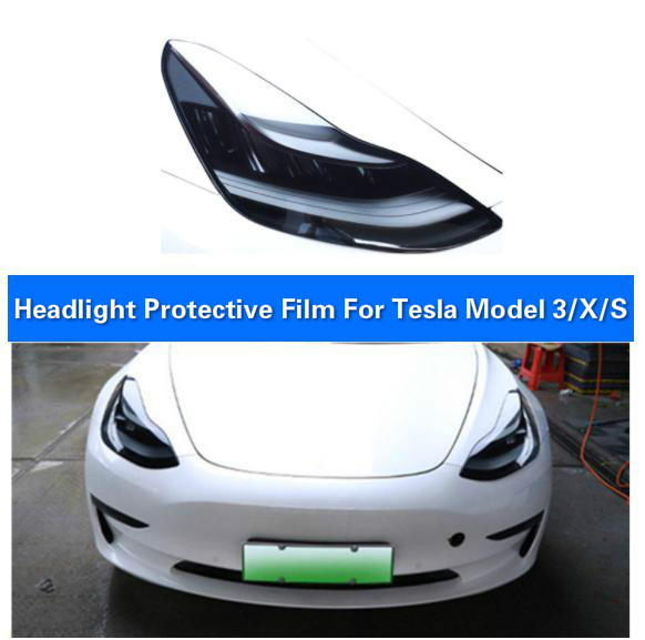 BAFIRE 2 Pcs TPU Invisible Car Headlight Protective Film For Tesla Model 3 Model S  Model X Protection Self Healing Sticker
