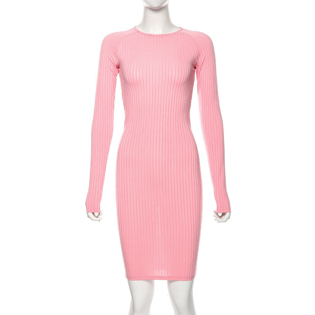 ZHYMIHRET 2019 Autumn Hollow Out Holder Dress Long Sleeve Sexy Backless Bodycon Party Dress Twist Knee Length Vestidos 7