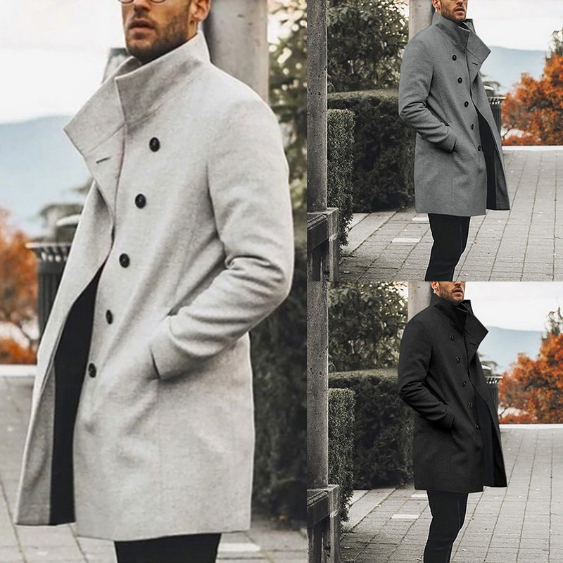 H5cd649f94f2744ceb18285d57775c461J HEFLASHOR Mens Trench Coat 2019 Fashion Designer Long Windbreaker Autumn Winter Single Breasted Windproof Overcoat Plus Size