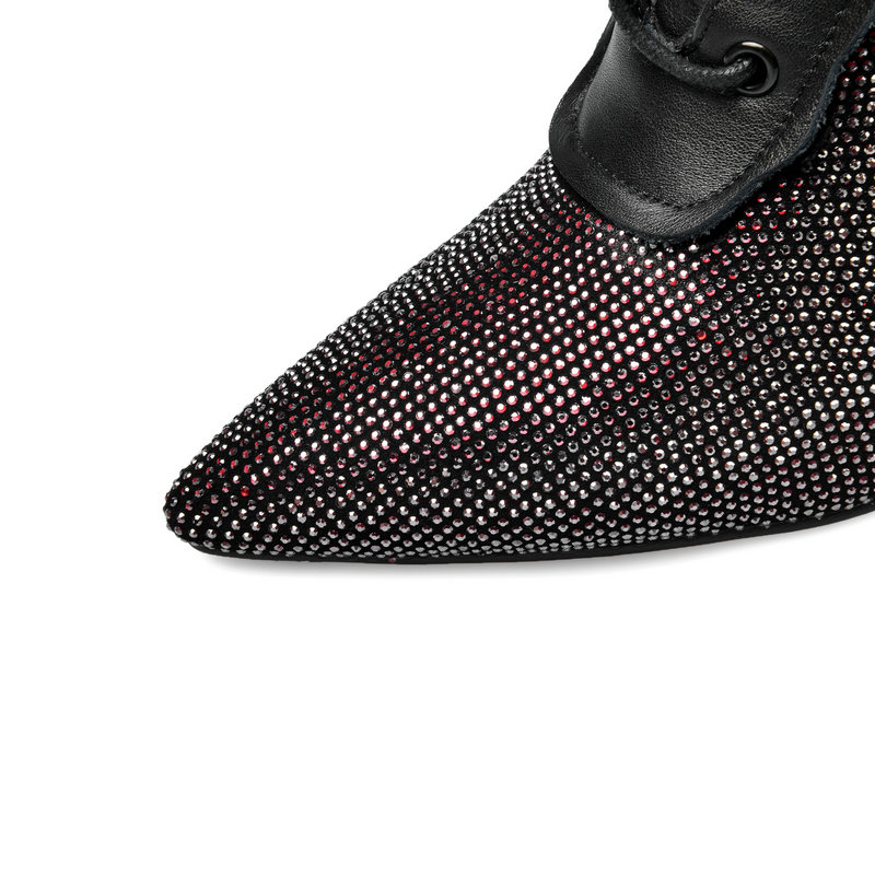 TXCNMB Pointed Toe Microfiber Leather All Match Women Shoes Autumn Winter Sexy Thin High Heel Zipper Ankle Boots Big Size 34 40 - 5