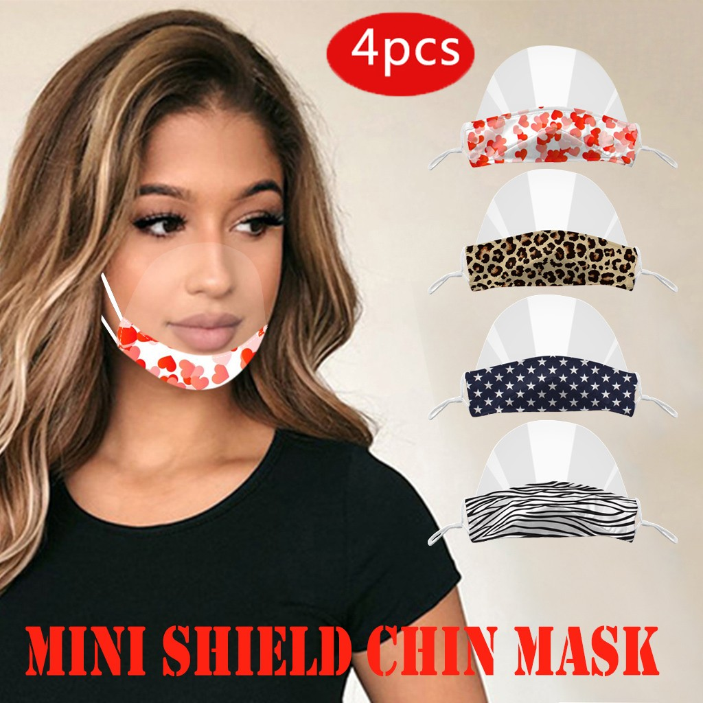 Comida do Hotel Adulto Máscara Facial Transparente Catering Anti Nevoeiro Plástico Escola Cozinha Restaurante Sorriso Máscaras Boca 4pc