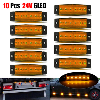 цена на 10pcs Yellow Car External Lights LED 24V 6 SMD LED Auto Car Bus Truck Wagons Side Marker Indicator Trailer Light Rear Side Lamp
