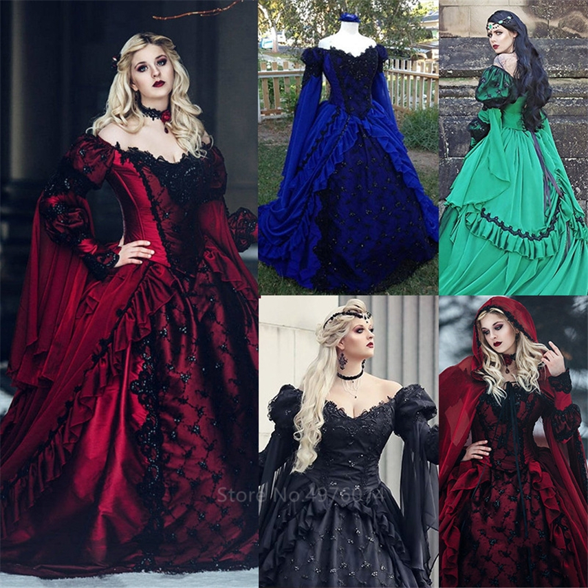 Woman Medieval Vintage Noble Palace Princess Dress Halloween Carnival Party Renaissance Victorian Gothic V-Neck Hooded Vestido