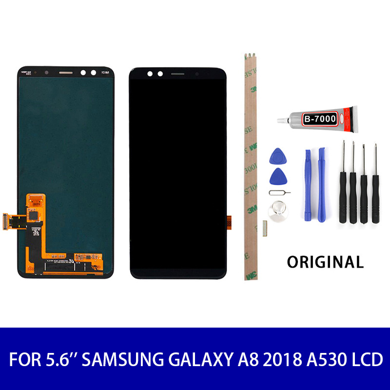 Original Super Amoled For 5.6'' <font><b>Samsung</b></font> <font><b>Galaxy</b></font> <font><b>A8</b></font> 2018 A530 <font><b>Lcd</b></font> <font><b>Display</b></font> <font><b>Touch</b></font> <font><b>Screen</b></font> Panel Digitizer Assembly <font><b>Screen</b></font> Replacement image