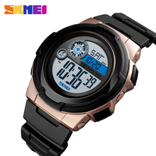 SKMEI NEW Sports Watch Men Stopwatch 5bar Waterproof Wristwatch Week Auto Date Alarm clock Digital Watches часы мужские 1437