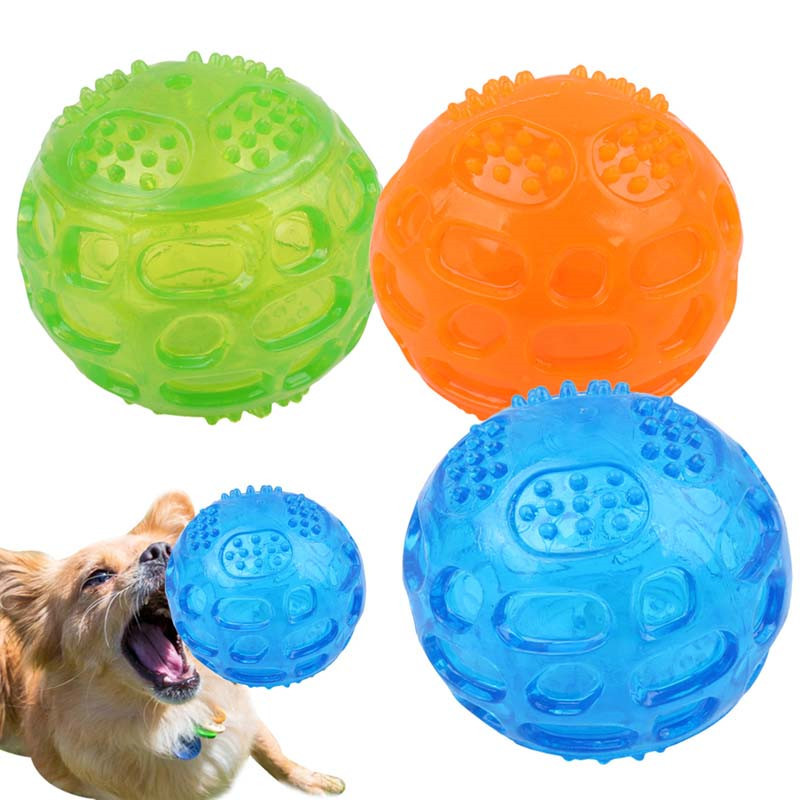 Pet Dog Cat Puppy Sounding Toys Polka Squeaky Tooth Cleaning Balls Playing Balls Pet Teeth Chew Toy Pet Chewing Accessories