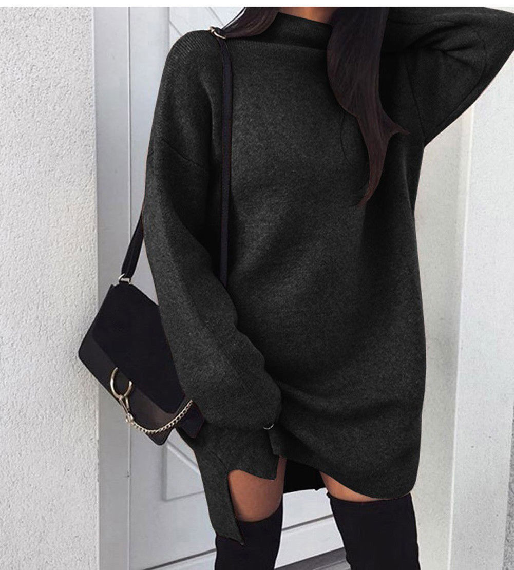 Осень зима теплый длинный рукав женский вязаный свитер платье белая водолазка свитера пуловер Джемпер Женская одежда - Цвет: C