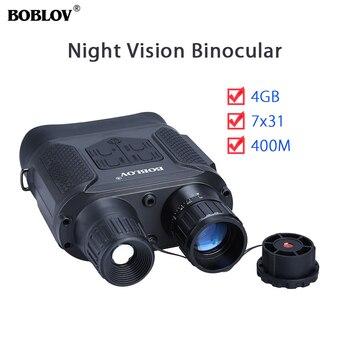 NV400-mira Binocular con infrarrojos, visión nocturna y día, 7x31, dispositivo para telescopio de 4GB, 720P, 400M, para caza y viaje, cámara para acampada