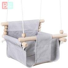 Toy Swing-Chair Hanging Wood Canvas Baby Children Indoor Small Basket Beige Kindergarten