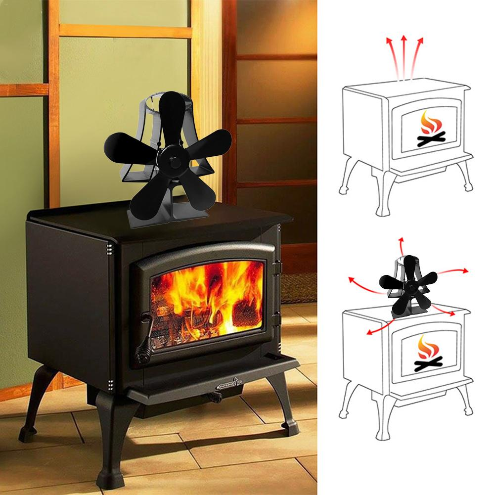 5Blades Heat Powered Stove Fan For Wood Log Burner Fireplace Accessories Winter Supplies Eco Friendly Black Fireplace Fan Indoor