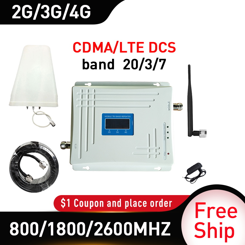 800/1800/2600mhz Band 20/3/7 CDMA DCS LTE 4G Signal Repeater GSM Gain 70db Cellular Mobile Signal Booster Tri-Band 4G Amplifier