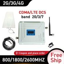 800/1800/2600mhz band 20/3/7 CDMA DCS LTE 4G Signal Repeater