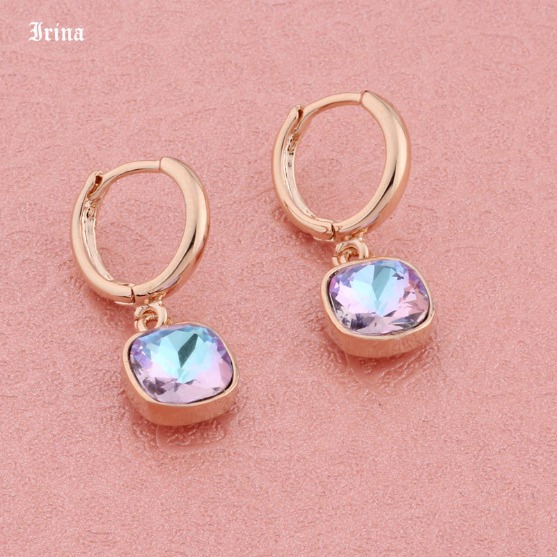 High Quality Fashion Trendy Colorful Square Crystal 8*8mm Drop Earrings 585 Rose Gold Color Earrings For Women Wedding Party