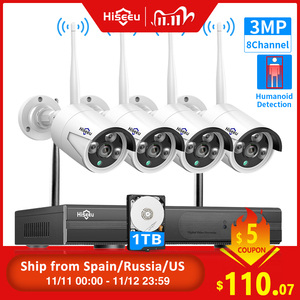 Image 1 - Hiseeu 8CH 무선 CCTV 시스템 1536P 1080P NVR 와이파이 IR CUT 야외 3MP AI IP CCTV 카메라 보안 시스템 비디오 감시 키트