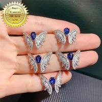 18k white gold Sapphire and diamond ring Engagement&Wedding Natural Real Diamond Ring Jewellery have certificate 002