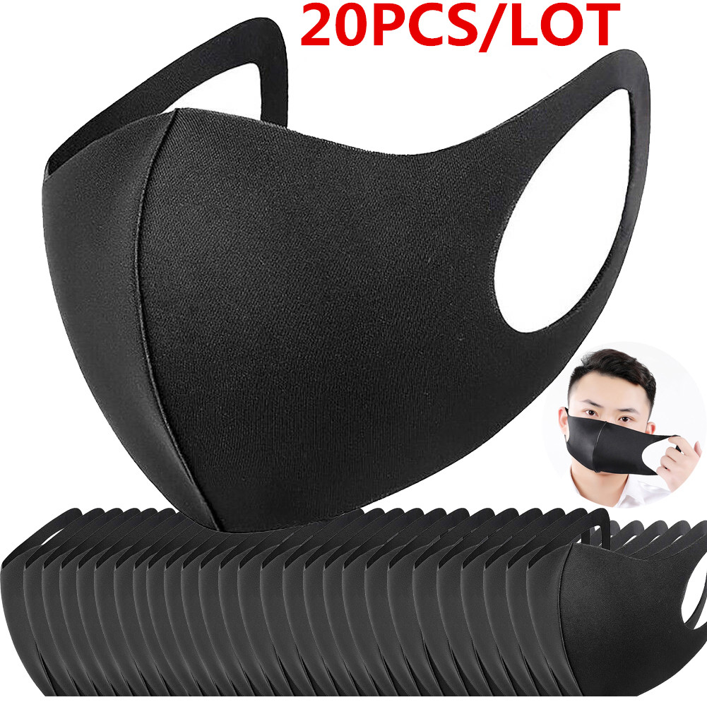 100/20 Pcs Black Bilayer Sponge Mouth Mask Anti Haze Dust Washable Reusable Double Layer Dustproof Mouth-muffle Wind Proof Mask