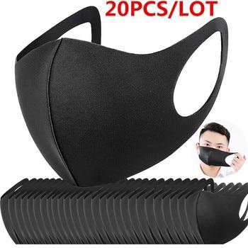 100/20 Pcs Black Bilayer Sponge Mouth Mask Anti Haze Dust Washable Reusable Double Layer Dustproof Mouth-muffle Wind Proof Mask