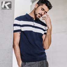 KUEGOU 2020 Summer Knitted 100% Cotton Striped Polo Shirt Men Short Sleeve Slim Fit Poloshirt For Male Wear Brand Clothes 16972