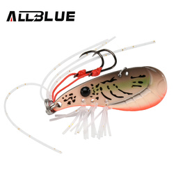 ALLBLUE Crazy Shrimp 7g 14g Metal VIB Sinking Blade Spoon Fishing Lure Bass Artificial Bait With Jig Assist Hook Rubber Skirt