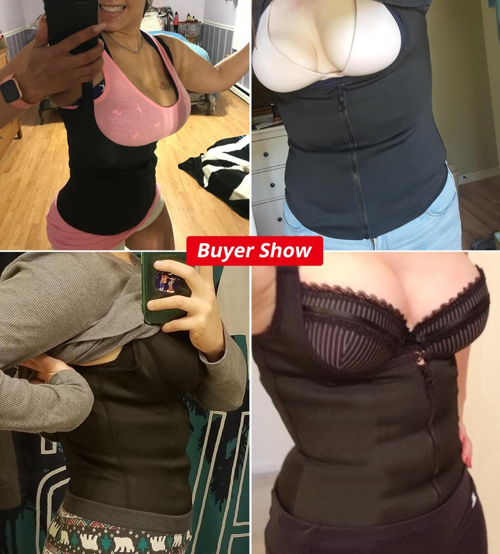 1 CXZD-Women-Waist-Trainer-Push-Up-Vest-Tummy-Belly-Girdle-Body-Shaper-Waist-Cincher-Corset-Zipper
