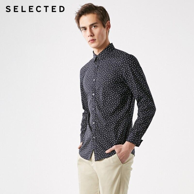 SELECTED Men's Slim Fit Tencel Polka Dots Long-sleeved Shirt S|419105574