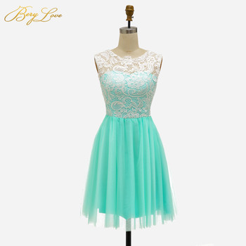 BeryLove Short Mint Homecoming Dress 2020 Blush Pink Lovely Cute Mini Lace Graduation Gown Cocktail Party Dresses For Prom 2020 light sky blue lace graduation short prom dresses bateau neck satin ruched mini homecoming party cocktail dress for girls