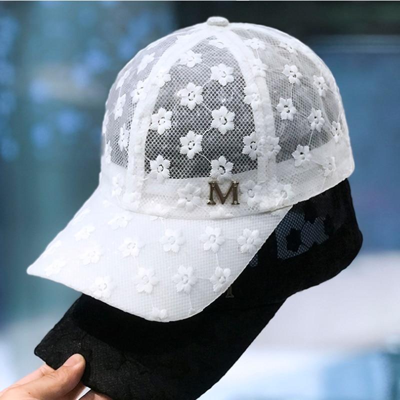 Brand Summer Lace Hat Cotton Baseball Cap For Women Breathable Mesh Girls Snapback Hip Hop Fashion Female Caps Adjustable