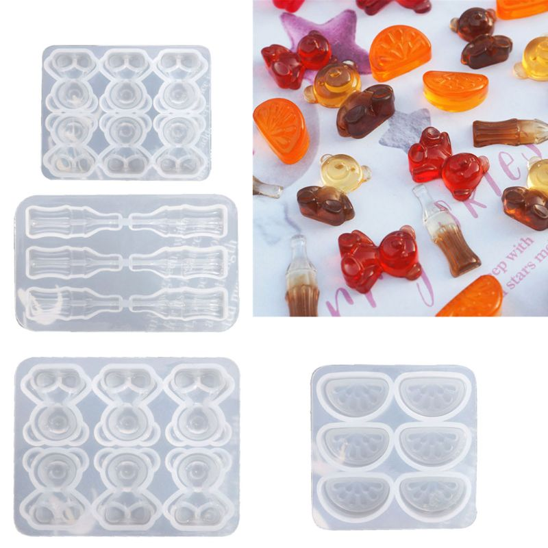 DIY Cute Gummy Molds Silicone Bear Orange Candy Chocolate Coke Drink Bottle Expory Resin Casting Pendant Mold Art Craft