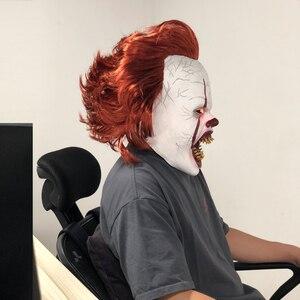 Image 3 - Ledホラーpennywiseジョーカーマスクコスプレスティーブン王それ章2ピエロラテックスマスクヘルメットハロウィンパーティーの小道具デラックスnew