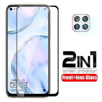 Перейти на Алиэкспресс и купить Защитное стекло для объектива камеры 2 в 1 для huawei nova 7i, закаленное стекло на hauwei 7 i i7 nova7i, безопасная защита экрана, защитная пленка