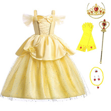 все цены на Girls Belle Princess Dress Kids Summer Costume For Beauty and the Beast Children Halloween Carnival Party Cosplay Dress