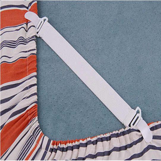 4PCS สีขาวปรับเตียงแผ่นคลิปฝาครอบ Grippers ผู้ถือที่นอนผ้านวมผ้าห่มสายรัดยึดกันลื่นเข็มขัด
