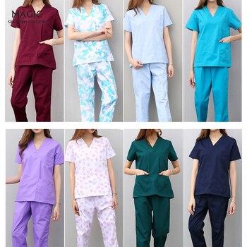 Workwear Clothes Health Workers Frosted Tops Pants Beauty Salon Scrub Uniforms Scrubs Set Short Sleeve V-neck Uniform coat