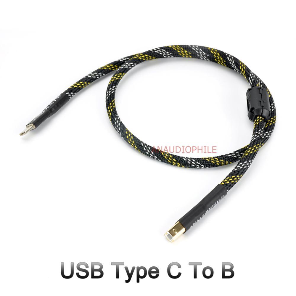 USB-кабель Hifi, USB Type-C в B кабель для передачи данных и аудио для мобильного телефона USB DAC, планшета, ручной работы