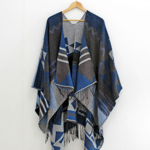 Image 2 - RANAWEELA Women Geometric Printed Shawl With Tassel Open Front Poncho Cape Cardigan Wrap Shawl For Winter Pashmina Ruana Female