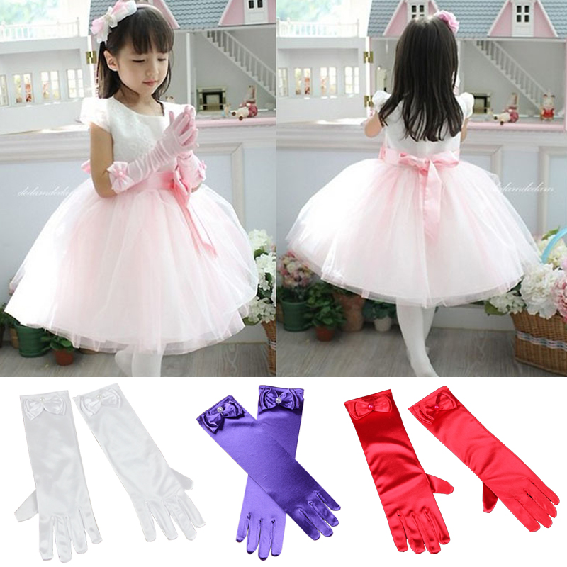 Children Elbow Summer Sun Protection Driving Opera Evening Party Prom Gilrs Gloves Stretch Satin Bowknot Kids Long Gloves
