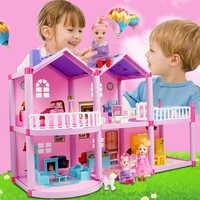 DIY miniatura Casa de muñecas juguetes niños ensamblar Casa de muñecas bebé hecho a mano Casa de marionetas Castillo juguete educativo para regalo de niños niñas