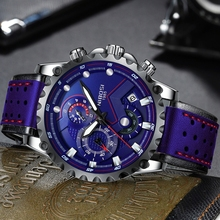 NIBOSI Mens Watches Top Brand Luxury Big Dial Military Quartz Watch Blue Leather Waterproof Chronograph Sport Relogio Masculino